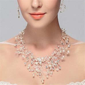 cheap Earrings-Women's Synthetic Diamond Beaded Necklace Y Necklace Flower Luxury Tassel Pearl Imitation Pearl Rhinestone White Necklace Jewelry For Wedding Party Birthday Party / Evening Daily Engagement