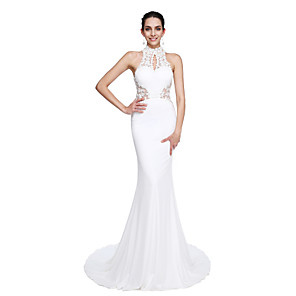 cheap Evening Dresses-Mermaid / Trumpet Beautiful Back Chinese Style Keyhole Prom Formal Evening Dress Illusion Neck Sleeveless Court Train Jersey with Beading Appliques 2020