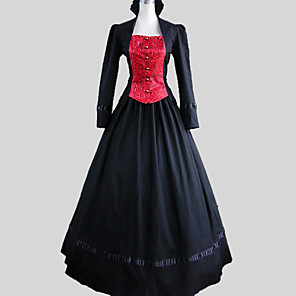cheap Historical & Vintage Costumes-Medieval Costume Women's Outfits Vintage Cosplay Cotton Long Sleeve Ankle Length Ball Gown