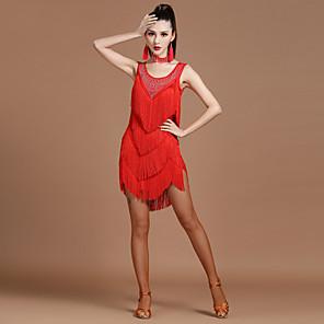 cheap Latin Dancewear-Latin Dance Dress Tassel Crystals / Rhinestones Women's Performance Sleeveless High Spandex Milk Fiber
