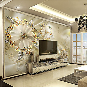 cheap Wall Stickers-3D Gold Flower Diamond Modern Bling Wall Mural Wallpaper Living Room Bedroom