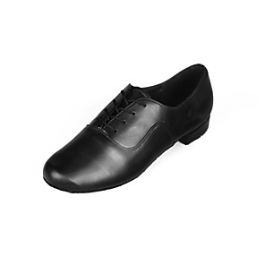 cheap Ballroom Shoes & Modern Dance Shoes-Men's Latin Shoes / Ballroom Shoes Faux Leather Lace-up Heel Low Heel Customizable Dance Shoes Black / Indoor / Performance / Practice / Professional / EU43