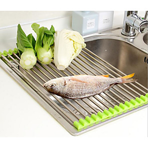 cheap Bikes-Vegetable Drainer Roll Up Stainless Steel Sink Dryer Rack Foldable Holder Kitchen