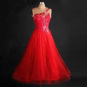 cheap Ballroom Dancewear-Ballroom Dance Dress Crystals / Rhinestones Women's Performance Sleeveless Chinlon Organza