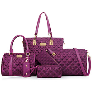 cheap Handbag & Totes-Women's Bags PU Leather / Nylon Bag Set 5 Pieces Purse Set Rivet for Formal / Outdoor / Office & Career Black / Purple / Fuchsia / Bag Sets