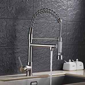 cheap Kitchen Faucets-Kitchen faucet - Single Handle One Hole Nickel Brushed Pull-out / Pull-down Vessel Contemporary / Art Deco / Retro / Modern Kitchen Taps