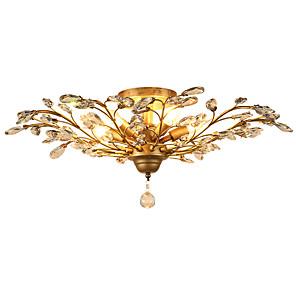 cheap Dimmable Ceiling Lights-LightMyself™ 5-Light 78 cm Crystal / Mini Style / LED Flush Mount Lights Metal Antique Brass Modern Contemporary 110-120V / 220-240V / E12 / E14