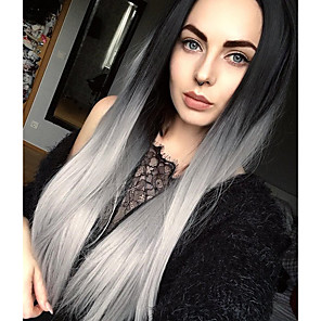cheap Synthetic Trendy Wigs-Synthetic Wig Straight Straight Wig Long Grey Synthetic Hair Women's Ombre Hair Dark Roots Middle Part Gray StrongBeauty
