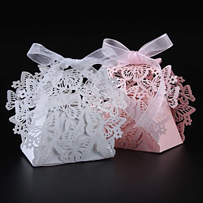 cheap Favor Holders-Round / Square Pearl Paper Favor Holder with Ribbons / Printing Favor Boxes - 50