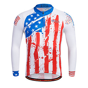 cheap Micro Cameras-Miloto Men's Long Sleeve Cycling Jersey Stripes Bike Shirt Sweatshirt Jersey Mountain Bike MTB Road Bike Cycling Breathable Quick Dry Reflective Strips Sports 100% Polyester Clothing Apparel