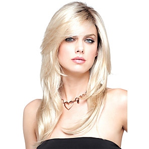 cheap Synthetic Trendy Wigs-Synthetic Wig Wavy Wavy Layered Haircut With Bangs Wig Blonde Medium Length Blonde Synthetic Hair Women's Heat Resistant Dark Roots Side Part Blonde