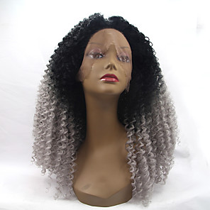 cheap Synthetic Trendy Wigs-Synthetic Lace Front Wig Kinky Curly Kinky Curly Lace Front Wig Black / Grey Synthetic Hair Women's Natural Hairline Gray