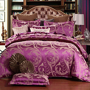 cheap Solid Duvet Covers-Duvet Cover Sets Floral Silk / Cotton Blend Jacquard 4 PieceBedding Sets / 500 / 4pcs (1 Duvet Cover, 1 Flat Sheet, 2 Shams)