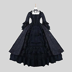 cheap Lolita Dresses-Princess Gothic Lolita Punk Lolita Dress Women's Satin Japanese Cosplay Costumes Black Jacquard Long Sleeve Ankle Length / Gothic Lolita Dress
