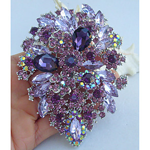 cheap Necklaces-Crystal Brooches Vintage Party Casual everyday Crystal Rhinestone Brooch Jewelry Purple For Wedding Party Special Occasion Anniversary Birthday Engagement