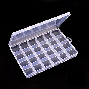 cheap Rhinestone & Decorations-24 grid transparent color ornament storage box