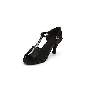 cheap Latin Shoes-Women's Dance Shoes Satin Latin Shoes / Salsa Shoes Rhinestone / Buckle Sandal / Heel Cuban Heel Customizable Black / Dark Brown / Indoor / Performance / Practice / Professional / EU40