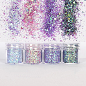 cheap Rhinestone & Decorations-10ml Holographic Mermaid Dreams Chunky Glitter Sequins Iridescent Flakes Hexagon Tips Mixed Paillette Face Eyes Body Hair Nail Art