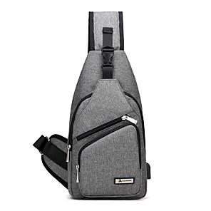 billiga Ryggsäck med en axelrem-Unisex Väskor PU läder / Duk Sling axelremsväska för Sport / Utomhus Svart / Grå