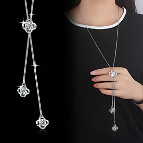 cheap Jewelry Sets-Pendant Necklace Y Necklace Lariat Flower Ladies Basic Fashion Blinging Cubic Zirconia Silver Plated Alloy Silver Necklace Jewelry For Wedding Party Special Occasion Birthday Daily Casual