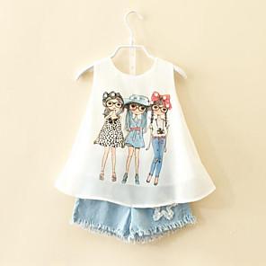 cheap Kids' Sandals-Toddler Girls' Cartoon Daily Print Sleeveless Regular Clothing Set White