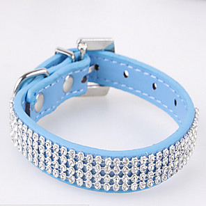 cheap Dog Collars, Harnesses & Leashes-Cat Dog Collar Strobe / Flashing Rhinestone PU Leather Red Pink