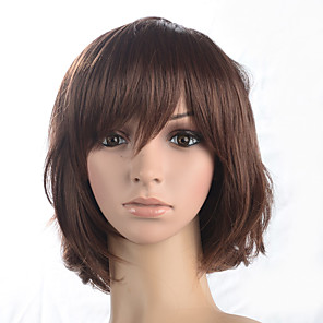 cheap Costume Wigs-Synthetic Wig Curly Curly Bob Short Bob With Bangs Wig Medium Length Auburn Synthetic Hair Women's With Bangs Brown