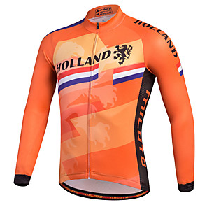 cheap Cycling Jerseys-Miloto Men's Long Sleeve Cycling Jersey Orange Stripes Bike Shirt Sweatshirt Jersey Mountain Bike MTB Road Bike Cycling Breathable Quick Dry Reflective Strips Sports 100% Polyester Clothing Apparel