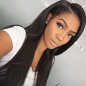 cheap Human Hair Capless Wigs-Human Hair Glueless Lace Front Lace Front Wig style Straight Wig 130% Density Natural Hairline African American Wig 100% Hand Tied Women's Long Human Hair Lace Wig