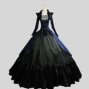 cheap Historical & Vintage Costumes-Gothic Lolita Victorian Dress Outfits Women's Cotton Party Prom Japanese Cosplay Costumes Plus Size Customized Black Ball Gown Solid Colored Poet Sleeve Long Sleeve Ankle Length
