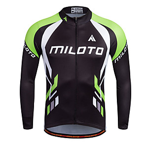 cheap Cycling Jerseys-Miloto Men's Long Sleeve Cycling Jersey Stripes Bike Shirt Sweatshirt Jersey Mountain Bike MTB Road Bike Cycling Breathable Quick Dry Reflective Strips Sports 100% Polyester Clothing Apparel