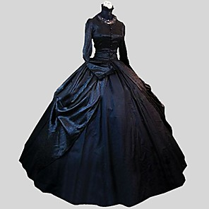 cheap Lolita Dresses-Princess Gothic Lolita Victorian Dress Women's Girls' Satin Party Prom Lace Japanese Cosplay Costumes Plus Size Customized Black Ball Gown Jacquard Poet Sleeve Long Sleeve Ankle Length