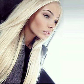 cheap Synthetic Lace Wigs-Synthetic Lace Front Wig Straight Kardashian Straight Lace Front Wig Blonde Long Light Blonde Synthetic Hair Women's Natural Hairline Middle Part Blonde