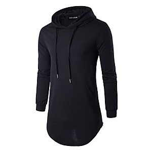 cheap Fitness Gear & Accessories-Men's Daily Hoodie Solid Colored Hooded Basic Hoodies Sweatshirts  Long Sleeve Slim Long White Black Blue / Sports / Spring / Fall / Winter