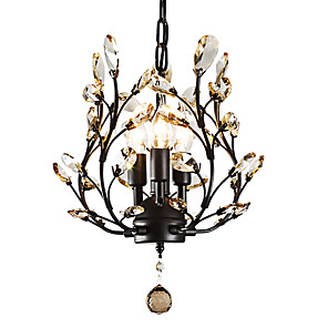 cheap Candle-Style Design-LightMyself™ 3-Light 33 cm Crystal / LED Chandelier Metal Painted Finishes Modern Contemporary 110-120V / 220-240V