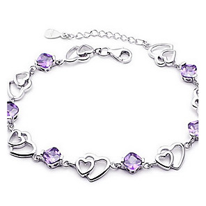 cheap Synthetic Trendy Wigs-Women's Crystal Chain Bracelet Love Ladies Basic Fashion Sterling Silver Bracelet Jewelry Purple For Wedding Party Gift Daily