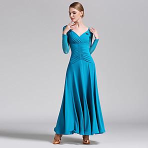 cheap Ballroom Dancewear-Ballroom Dance Dress Criss-Cross Women's Performance Long Sleeve Natural Tulle Milk Fiber