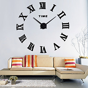 cheap Wall Clocks-Large 3D DIY Wall Clock Roman Numerals Clock Frameless Mirror Surface Wall Clock Home Decor for Living Room Bedroom AA Battery Powered