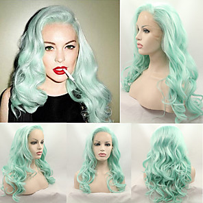 cheap Synthetic Trendy Wigs-Synthetic Wig Wavy Wavy Wig Medium Length Green Synthetic Hair Women's Natural Hairline Green