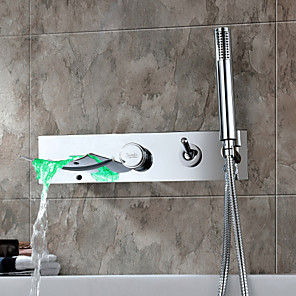 cheap Sprinkle® Sink Faucets-Contemporary  with  Chrome Single Handle Five Holes  ,  Feature  for Waterfall Wall Mount LED