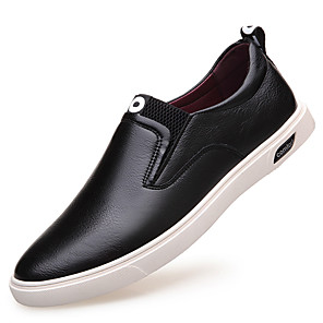 cheap Men's Slip-ons & Loafers-Men's Leather Shoes Leather Spring / Fall Loafers & Slip-Ons Waterproof Black / Party & Evening / Lace-up / Party & Evening / Outdoor / Office & Career
