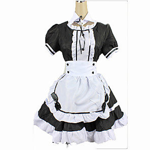 cheap Anime Costumes-Maid Costume Women's Cosplay Costume For Cotton Solid Colored Christmas Halloween Carnival