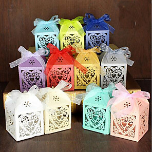 cheap Wedding Decorations-Round / Square Pearl Paper Favor Holder with Ribbons / Printing Favor Boxes / Gift Boxes - 100