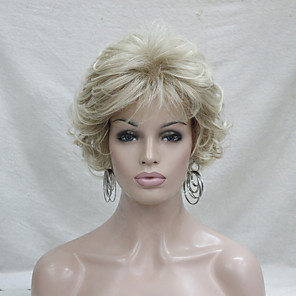 cheap Synthetic Trendy Wigs-Synthetic Wig Curly Curly With Bangs Wig Blonde Short Blonde Synthetic Hair Women's Blonde