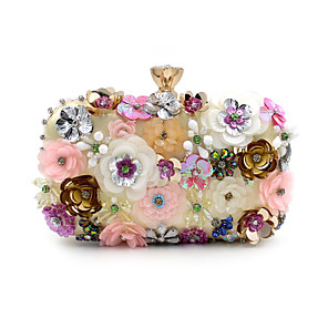 cheap Clutches & Evening Bags-Women's Imitation Pearl / Crystal / Rhinestone / Flower Polyester Evening Bag Wedding Bags Floral Print Rainbow