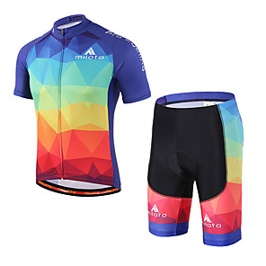 cheap Cycling Jersey & Shorts / Pants Sets-Miloto Men's Women's Short Sleeve Cycling Jersey with Shorts Red Bike Clothing Suit Breathable 3D Pad Quick Dry Reflective Strips Sweat-wicking Sports Spandex Coolmax® Mountain Bike MTB Road Bike