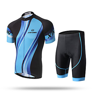 cheap Cycling Jersey & Shorts / Pants Sets-XINTOWN Men's Short Sleeve Cycling Jersey with Shorts Black / Blue Bike Shorts Pants / Trousers Jersey Breathable Quick Dry Ultraviolet Resistant Back Pocket Limits Bacteria Sports Lycra Clothing