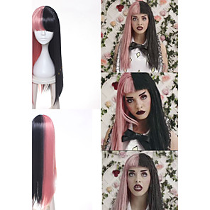cheap Costume Wigs-Synthetic Wig Cosplay Wig Straight Kardashian Straight With Bangs Wig Long Pink Synthetic Hair Women's Braided Wig African Braids Black