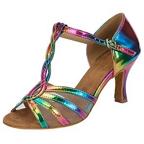 cheap Latin Shoes-Women's Dance Shoes Faux Leather Salsa Shoes Buckle / Ruffles Sandal / Heel Customized Heel Customizable Rainbow / Performance