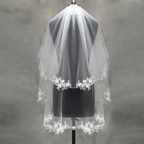 cheap Wedding Veils-Two-tier Lace Applique Edge / Pearl Trim Edge Wedding Veil Blusher Veils / Elbow Veils / Fingertip Veils with Appliques Tulle / Classic